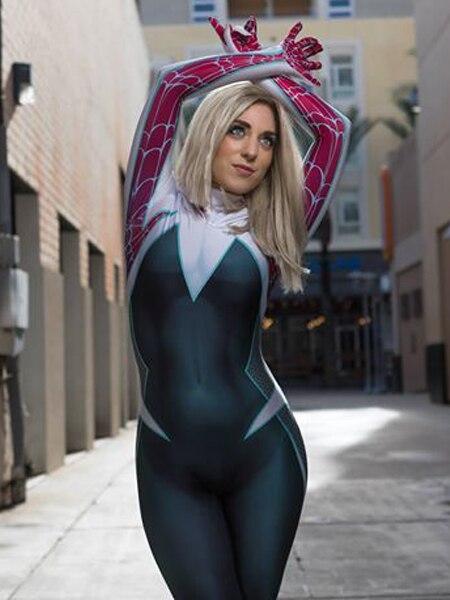 Nuevo disfraz de Spiderman, disfraz de Cosplay de Ghost-Spider, traje de Zentai de Halloween para niña/dama/mujer