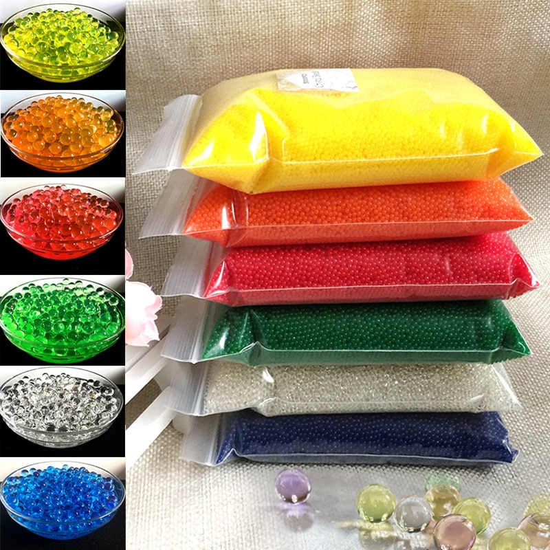 50000 PCS/Bag Hydrogel Pearl Shaped Crystal Soil Water Beads Orbiz Gel Ball For Flower/Weeding Mud Growing Home Decor