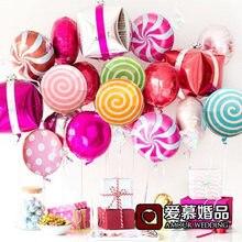 5 Stks/partij Kleurrijke Snoep Folie Ballonnen 18 Inch Ronde Lolly Aluminium Ballen Bruiloft Verjaardag Kindje Partij Decoratie