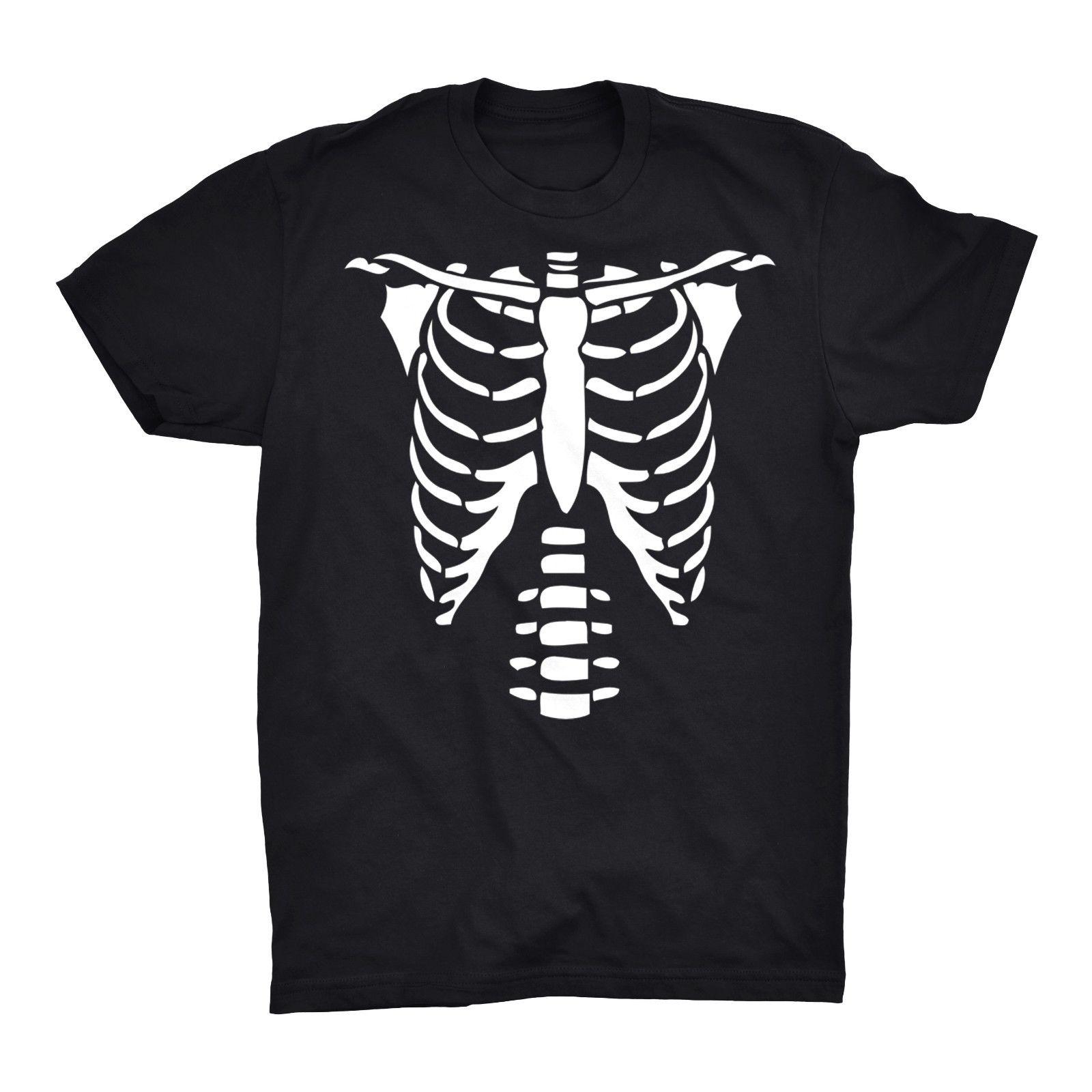 Camiseta de manga corta de algodón esqueleto pecho camiseta ribbage calavera costillas Halloween divertido aterrador espeluznante verano