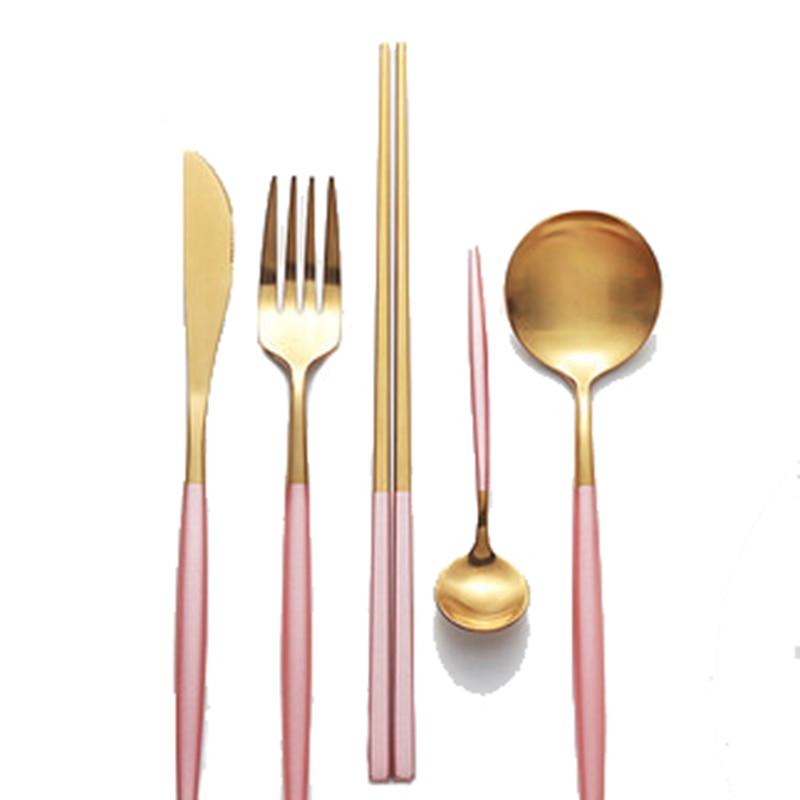 Talheres de sobremesa em ouro rosa, garfo principal