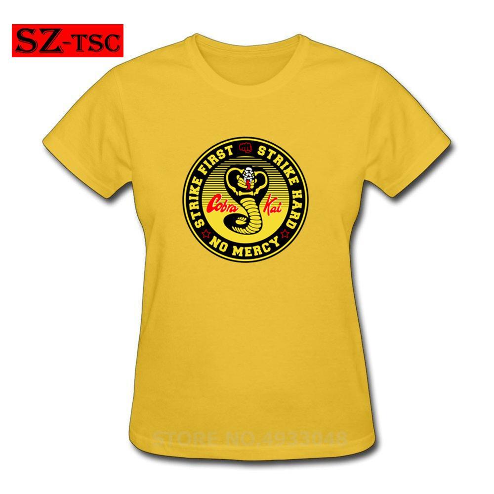 Cobra Kai atacar primero duro. No hay piedad Camiseta de algodón de manga corta de mujer Casual camiseta Vintage t camisa tops mujer camisetas