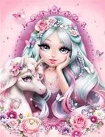 Peinture diamant theme   fille et licorne    broderie complete 5D  perles carrees et rondes  mosaique  point de croix  decoration dinterieur  cadeaux  a faire soi-meme