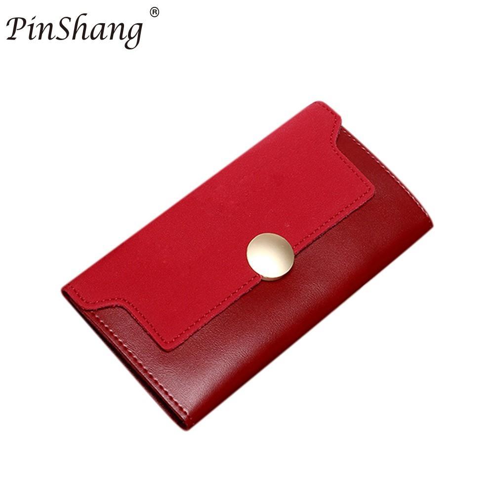 PinShang moda mujer Trifold PU cuero señora bolso cartera de mano con botón tarjeta caso monedero Matting bolsa regalos de navidad ZK30