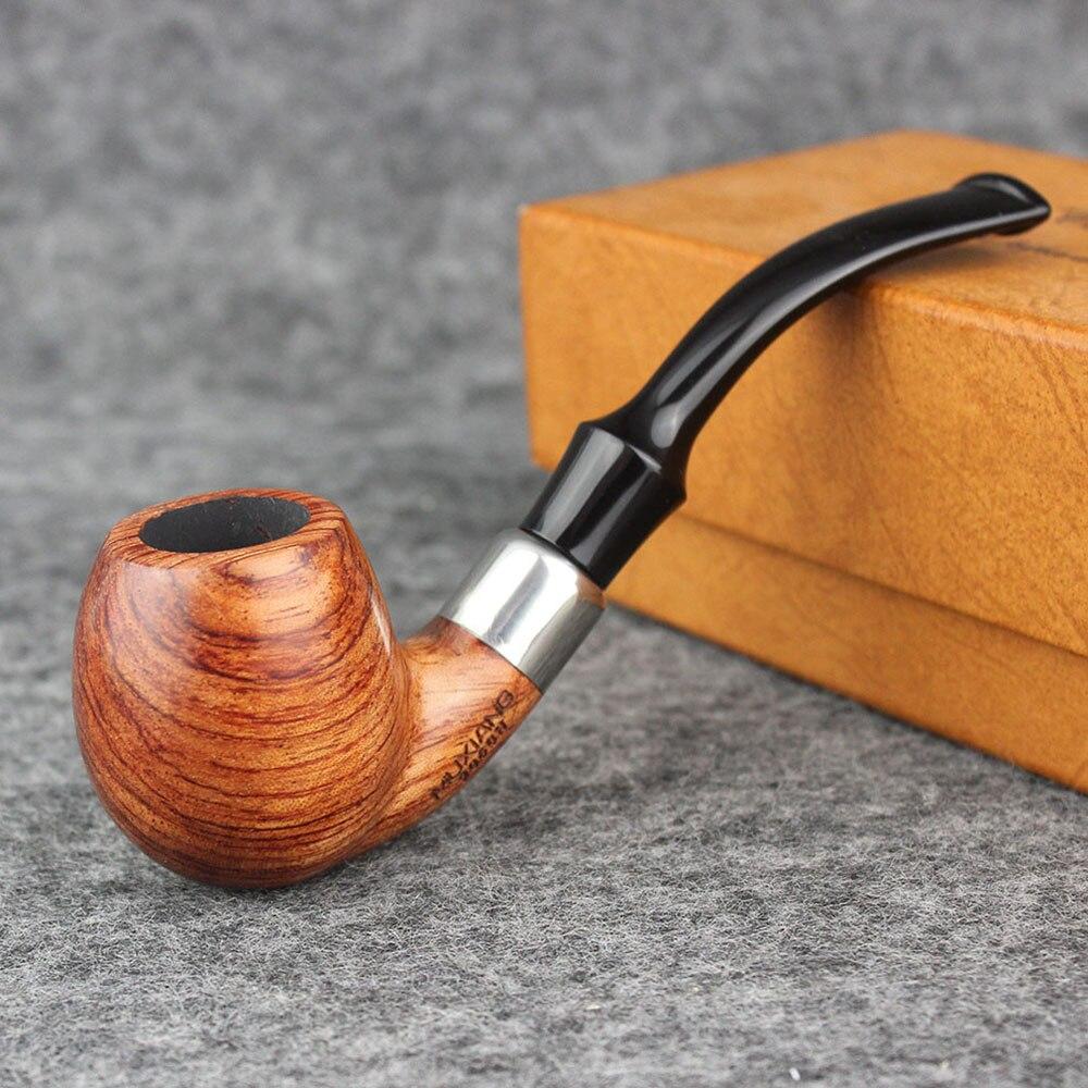 RU-MUXIANG kevazingo tallo doblado de tabaco de madera con boquilla de silla de montar de acrílico hombres pipa de fumar doblado de madera con filtro de 9 mm ad0038