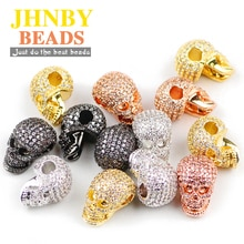 JHNBY Schädel Anhänger Kupfer Spacer perlen Mikro Pflastern CZ Kristall Metall Charme Lose perlen Schmuck armband, die DIY Zubehör