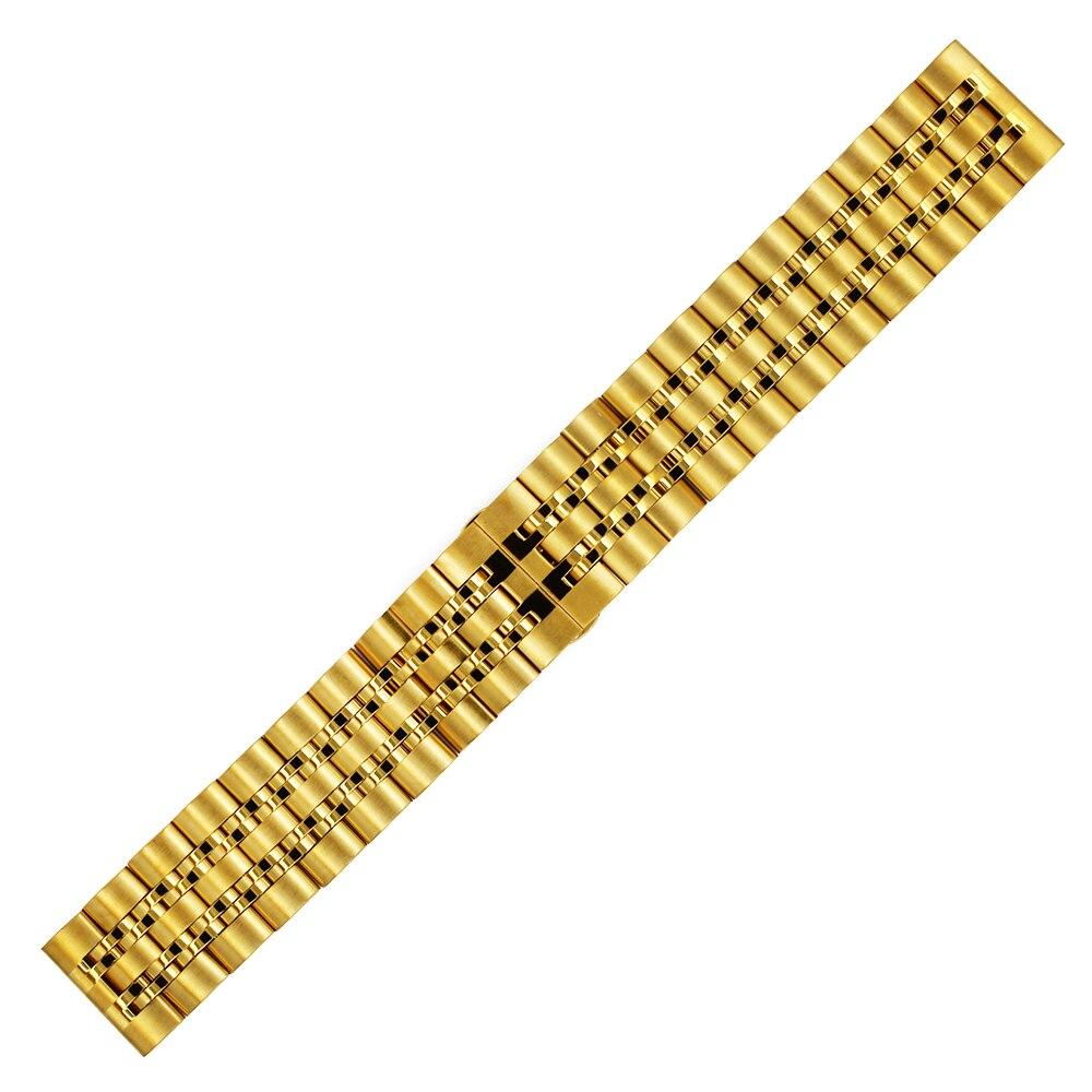 Stainless Steel Watch Band 20mm 22mm Universal Watchband Butterfly Buckle Strap Quick Release Loop Belt Bracelet Black Silver