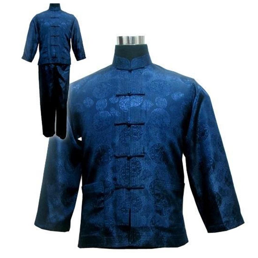 Homens chineses de Cetim de Seda Kung Fu Suit Tamanho S M L XL XXL Frete Grátis M3020