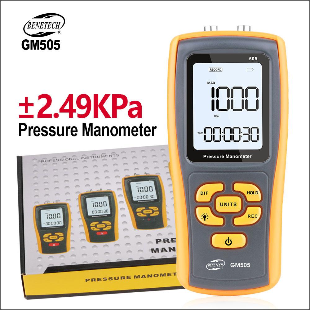 BENETECH-مقياس الضغط الرقمي ، مقياس الضغط التفاضلي GM505 2.49KPa ، مقياس ضغط الهواء
