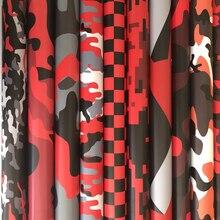 Zwart Rood Gedrukt Camouflage Vinyl Film Met Air Bubble Gratis Auto Wrap Folie Camo Motor Auto Sticker Decal