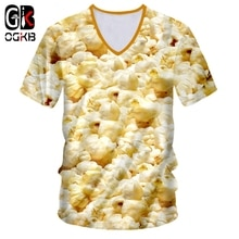 OGKB Deep V neck T shirt Hombre Short Sleeve 3D Printed Popcorn Streetwear Oversized Garment Hombre Tee Shirt Dropshipping