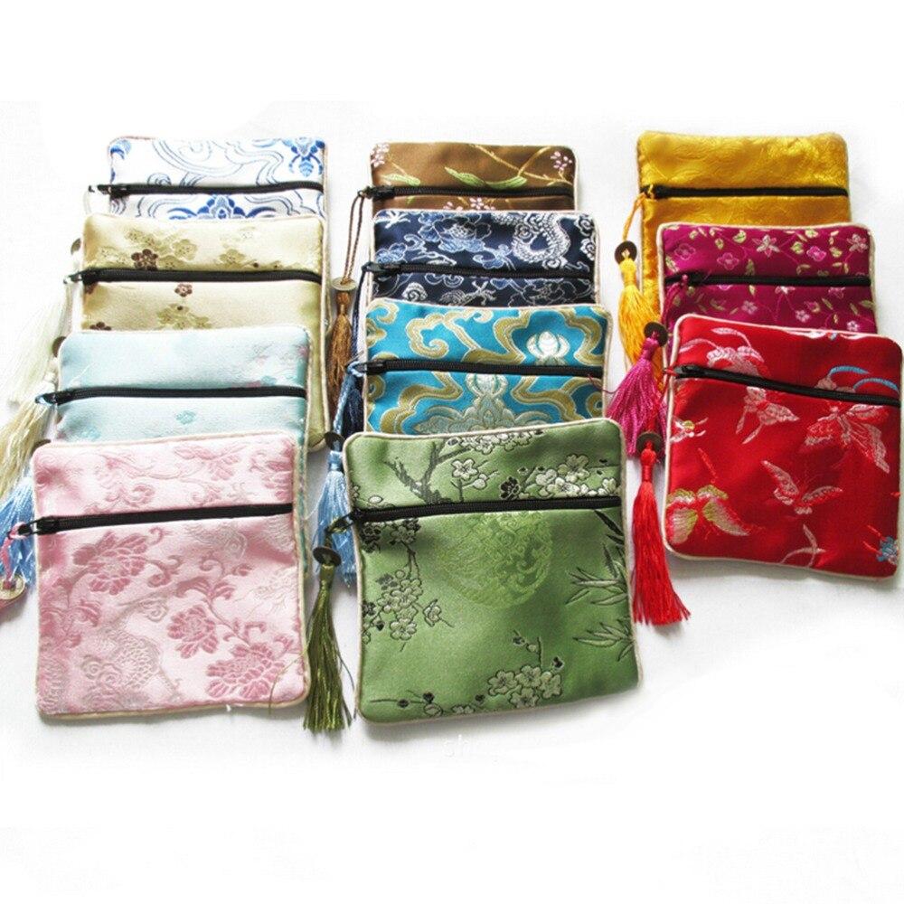 Monedero cuadrado de seda con borla de flores, 10 Uds., mezcla de colores, monedero chino con cremallera, bolsas de joyería