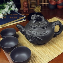 Offre spéciale théière en porcelaine chinoise Yixing   Théière Zisha, théière de 400ml + 3 tasses, service à thé Kung Fu, théière en céramique Zisha faite à la main de 60ml