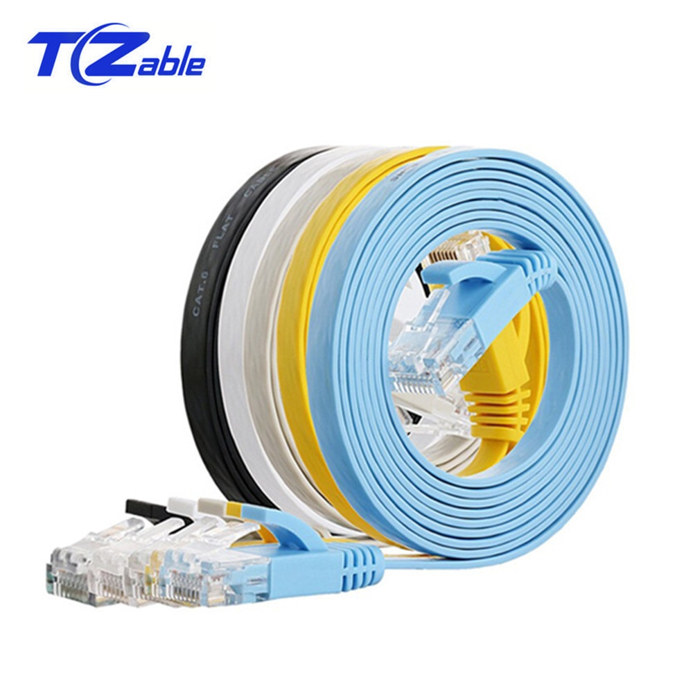 CAT6 RJ45 Ethernet plano Cable de par trenzado 1m 2m 3m 10m 20m de Cable de red para ordenador Cat6 para ADSL Centro Cámara Router ATM Cable UTP