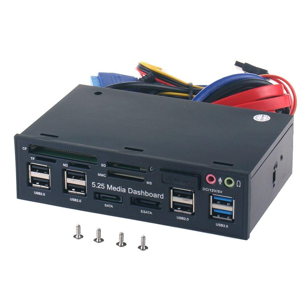 Multifunción USB 3,0 Hub ESATA SATA puerto interno lector de tarjetas PC Media Panel frontal Audio para SD MS CF TF M2 MMC tarjetas de memoria
