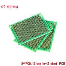 5 uds 5x7 5*7 prototipo de un solo lado PCB DIY circuito universal impresa PCB fibra de vidrio placa universal verde aceite epoxi Protoboard