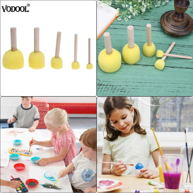 Губка кисти для рисования игрушки деревянная ручка печать губка кисти для детей Рисование граффити кисть для школы желтый
