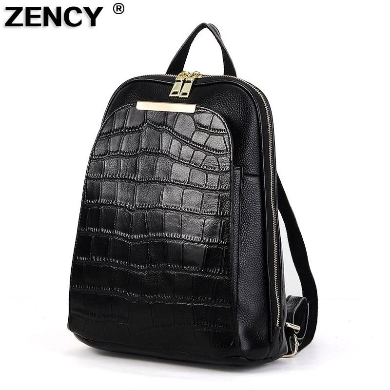 Zency 100% mochilas de couro vaca genuína diário design feminino estilo agradável mochila senhora menina camada superior saco escolar
