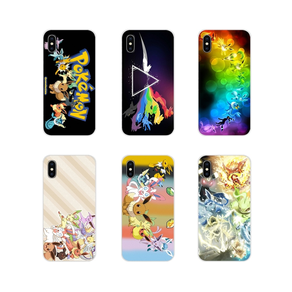 For Samsung Galaxy A5 A6S A7 A8 A9S Star J4 J6 J7 J8 Prime Plus 2018 Soft Transparent Covers Rainbow Pokemon Eevee Evolution Art
