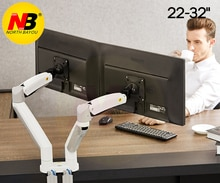 NB F195A Aluminium Legierung 22-32 zoll Dual LCD LED-Monitor Montieren Gas Frühling Arm Full-Motion Monitor Halter unterstützung mit 2 USB Ports