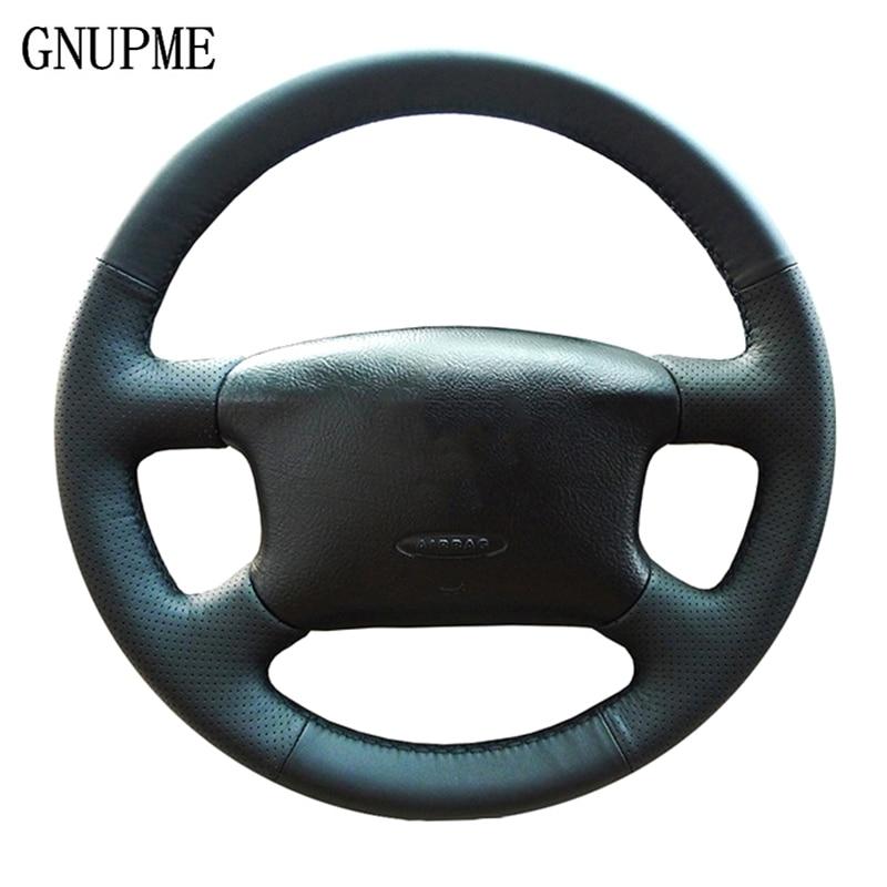 GNUPME DIY ручной работы черный кожаный Авто чехол рулевого колеса автомобиля для Volkswagen Skoda Octavia 1999-2005 Passat B5 VW Golf 4