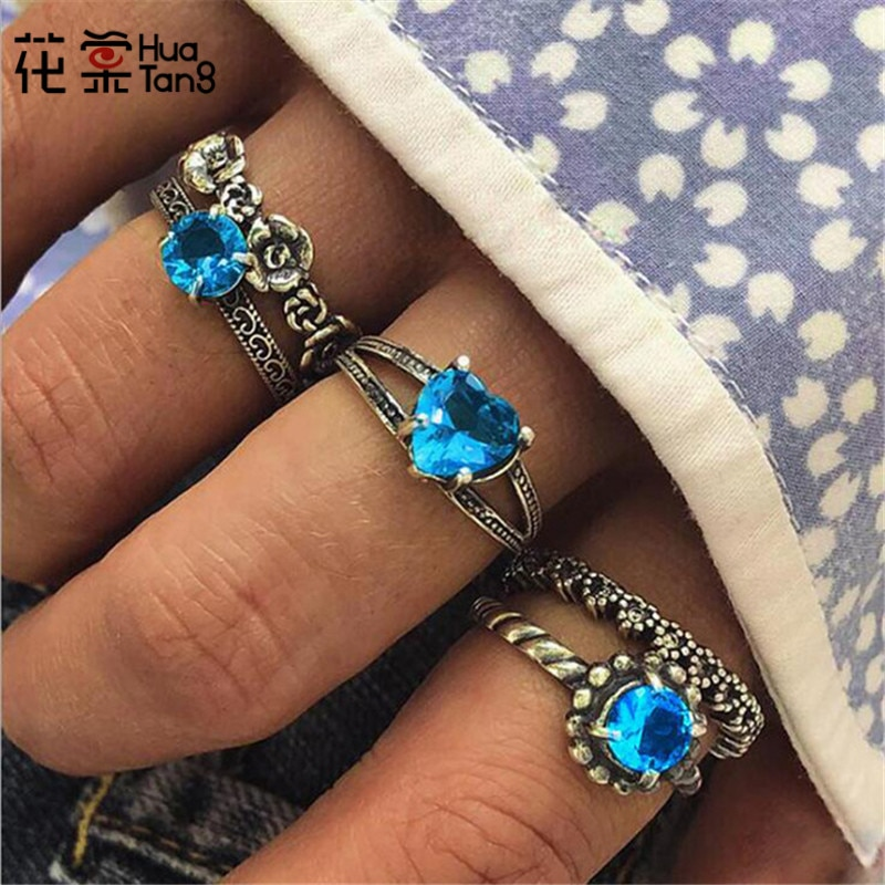 HuaTang, conjunto de Anillos de corazón de diamantes de imitación azules para mujer, tallado de flores, Anillos para nudillos, joyería de Anillos, 5 unids/set 6082