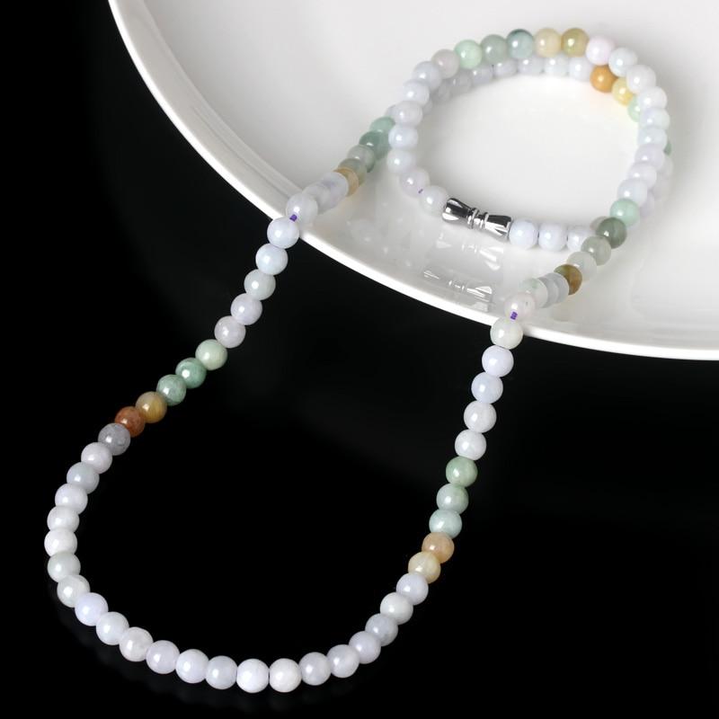 5mm genuine Burmese jade jade three color necklace Fu Lu Shou bead necklace old pit A goods jade necklace  female models en2979#