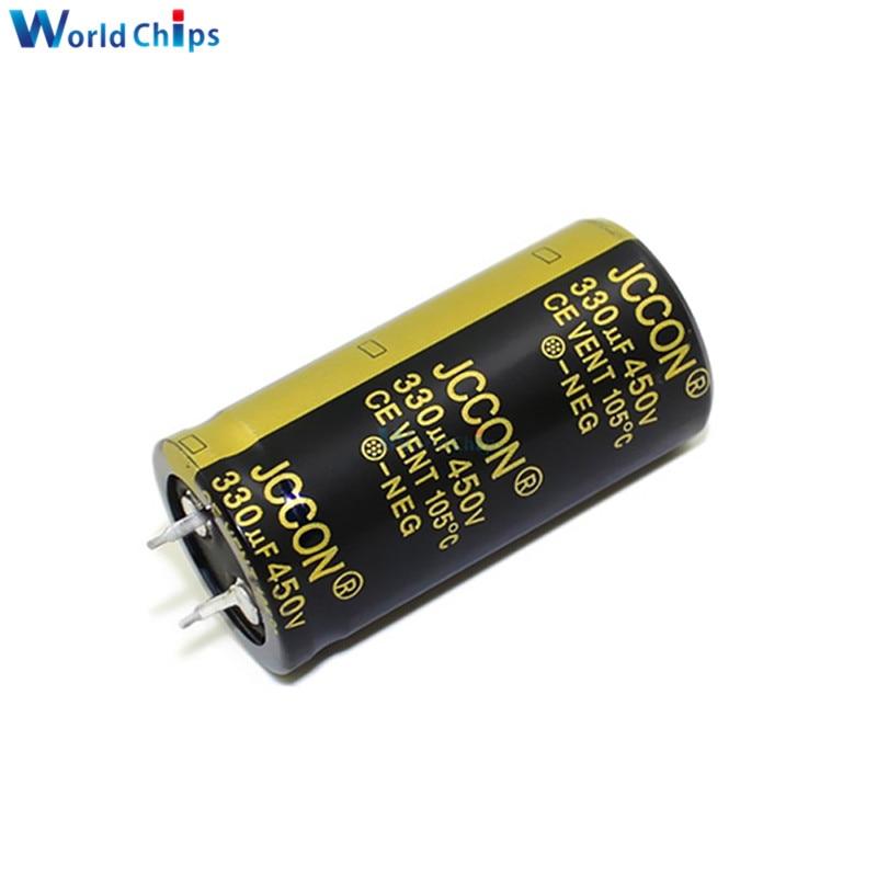 Condensador electrolítico de aluminio diymore 450V 330uF 25X50mm alta frecuencia baja ESR 450V330uF 25*50mm a través del condensador del agujero