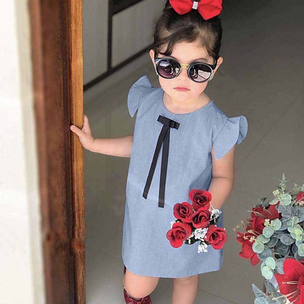 Ropa de bebé niña vestido de verano 2019 lol sorpresa traje princesa vestido fiesta niña niñas volar manga arco sólido vestido ropa vestidos