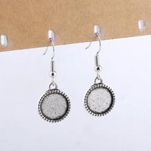 Onwear 20 pièces argent antique boucle doreille crochets conclusions tenir 10mm 12mm 14mm cabchon boucles doreilles paramètres de base bricolage blanc enjoliveurs
