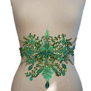 Bi.Dw.M Зеленый Вышивка Аппликация из хрустальных страз с бисером патч 22x35 см для шитья стеганых свадебное платье планки пояс для поясницы укра...