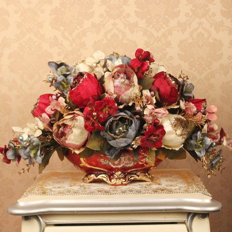 Vaso de resina europeia + flores artificiais conjunto artesanato estatuetas casa desktop luxo peônia falso vaso flores enfeites planta decoração