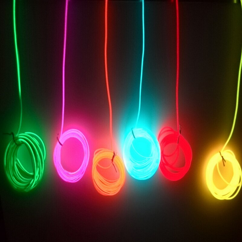 Гибкий неоновый светильник 2 м/3 м/5 м 3 В-12 в, светящийся EL провод, лента для кабеля, светодиодный неоновый светильник, обувь, одежда для автомобиля, декоративная лента, лампа