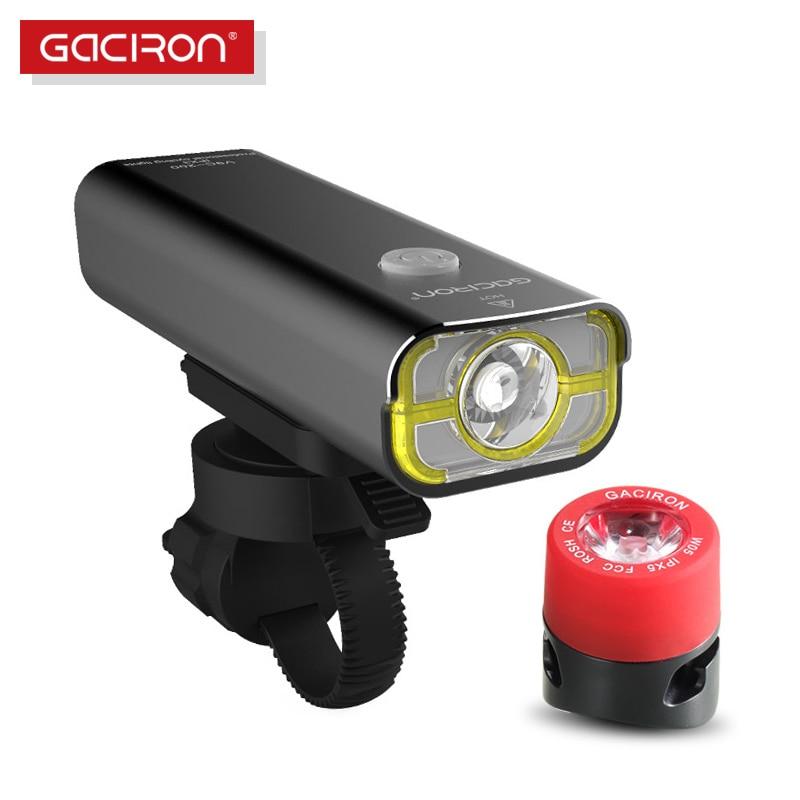 GACIRON Bike Bicycle 400 Lumens LED Flashlight USB Rechargeable handlebar Headlight Biking Lamp with W05 tail light set
