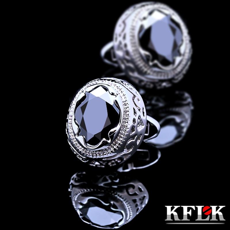 KFLK Jewelry shirt cufflink for mens Brand cuff button Retro cuff link High Quality Black abotoaduras gemelos guests