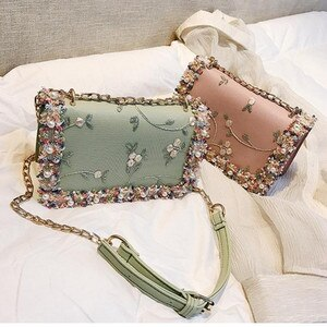 Pearl Fashion Women Chain Messenger Bag Flower Handbag Ladies Girl Crossbody Bags Bead Florals Flap Bag Woman Purse Green