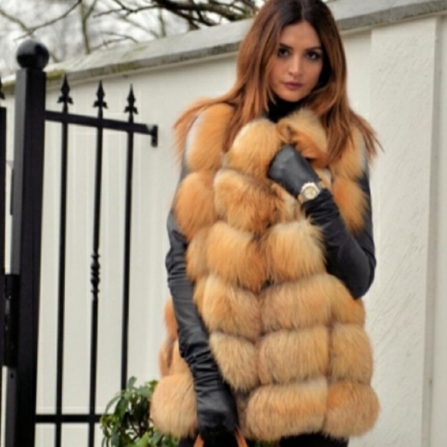 Women's new red fox fur vest natural fox fur real fox fur short vest casual fashion warm autumn and