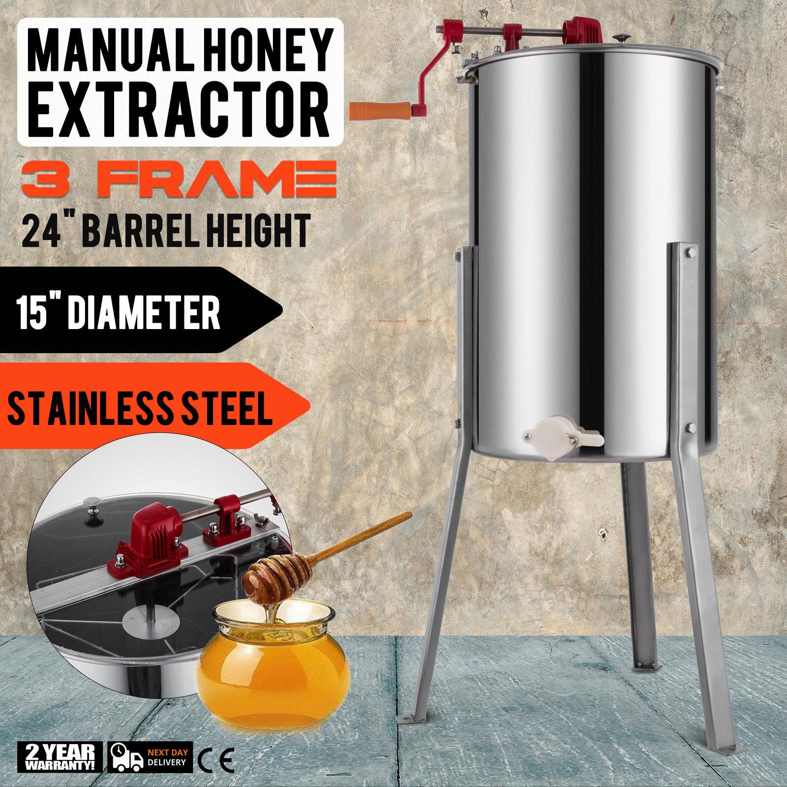 Extractor de miel Manual, Extractor de abeja de 3 Marcos, Spinner de miel de acero inoxidable