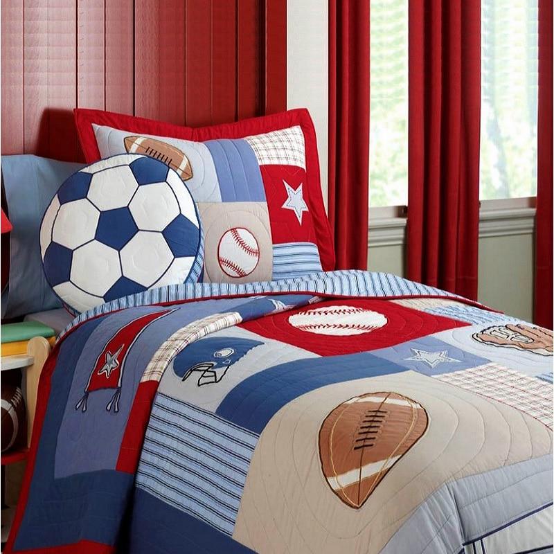 CHAUSUB niños Patchwork edredón Set 2PC de algodón hecho a mano colchas cama hoja de deportes cubierta de cama fundas de almohada conjunto colcha los niños ropa de cama