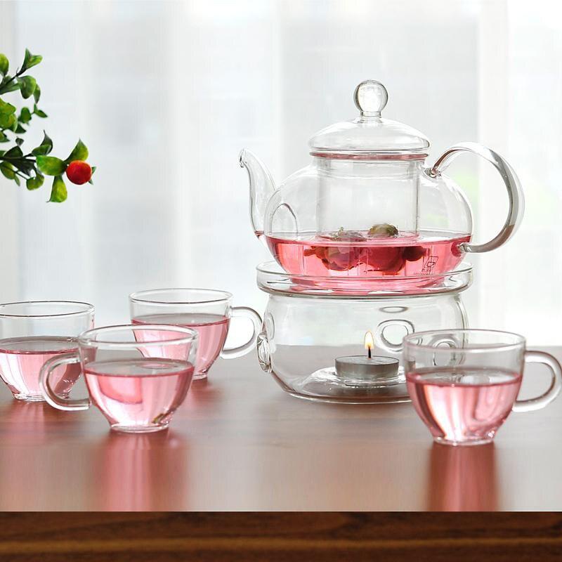 Ensemble de théière à fleurs transparent domestique verre résistant à la chaleur avec chauffage double couche tasse à thé théière à fleurs WF4291613
