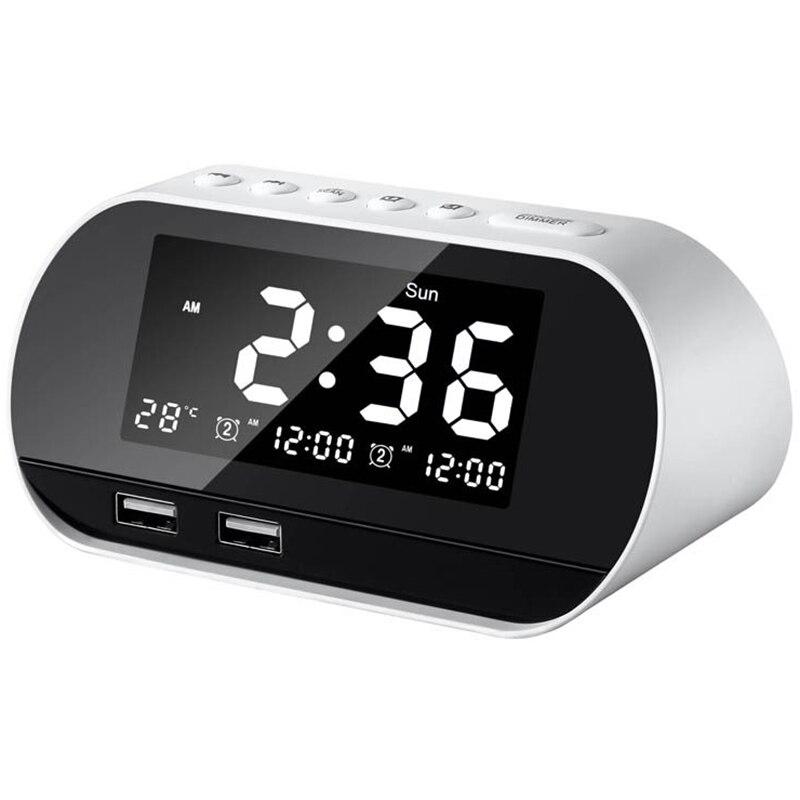 Réveil numérique Led pour chambres à coucher   Radio avec Radio Fm, double Port Usb pour chargeur, variateur, minuterie de sommeil