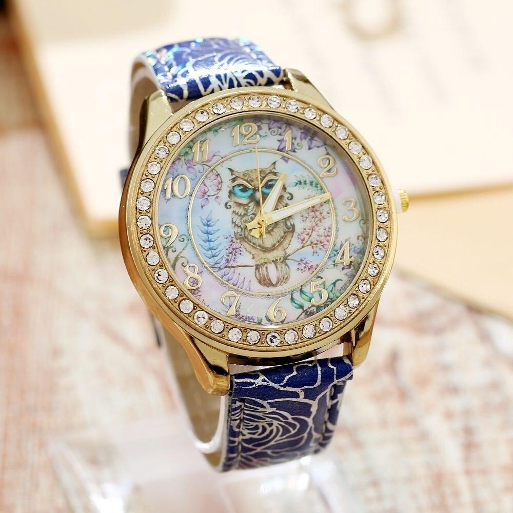 Gnova Platinum Pu Leather Little Owl Style Watch Woman Vintage Retro Women Wristwatch Golden Rim Girl Dama Lady Clock