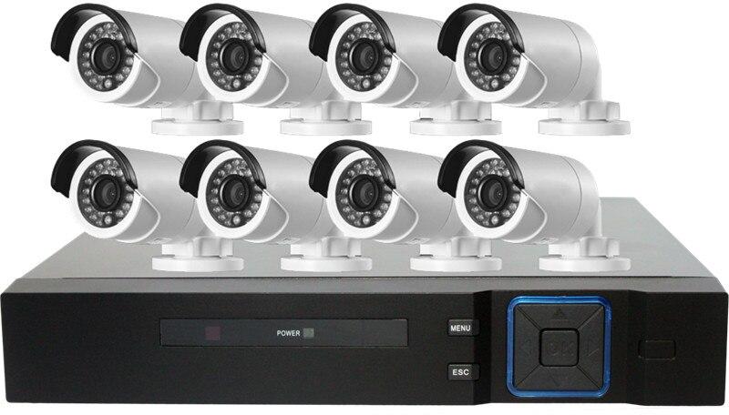 Caméra de vidéosurveillance 8CH 1080N HDMI   DVR, 4 pièces 1080P IR pour lextérieur, étanche aux balles