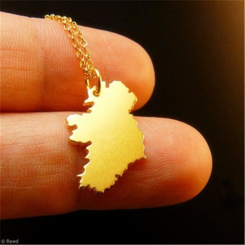 Mapa de la República de Irlanda colgante de Color dorado y cadena fina collares Poblacht na Heireann mapas de país joyería