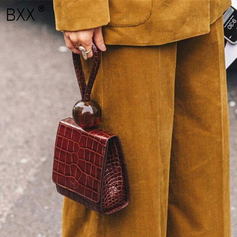 [Súper lobo marino] 2020 primavera verano Mujer nueva personalidad elegante Color amarillo diseño de cocodrilo PU bolso de cuero combina con todo LI977