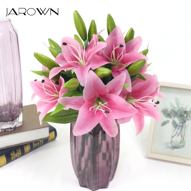 Artificial 3 cabezas 37cm toque de Azucena Real flores de látex Artificial flores para boda ramos de novia