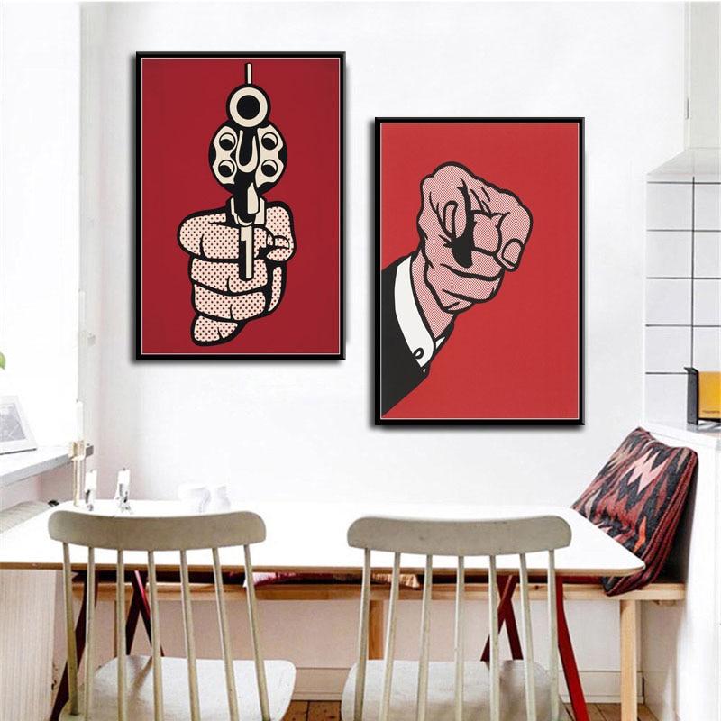 Decoração de casa impressões hd nordic roy lichtenstein finger gun estilo arte da parede pintura em tela aquarela cartaz modular quarto