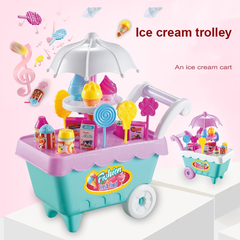 19pcs Set Ice Cream Trolley Cart Plastic Pretend Play Food Dessert Toy For Children Kids YH-17