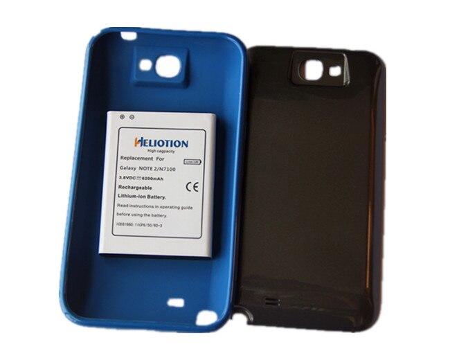 Note 2 6200 mAh batterie étendue avec couverture arrière et TPU bleu protection de remplacement pour samsung galaxy Note2 N7100
