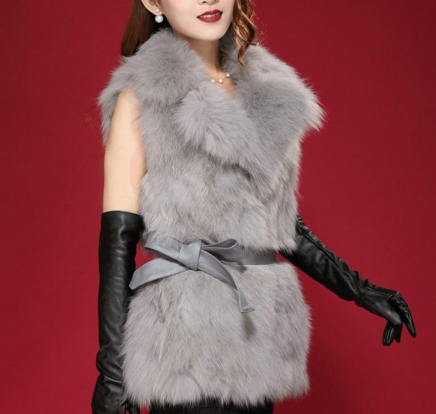 Black/White /Grey Womenn Sleeveless Fake Fur Jacket Winter Autumn Female Lapel Man-Made Fur Waistcoat Casual Faux Fur Vest J3002